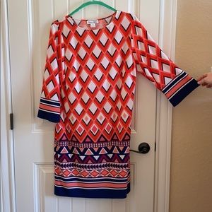 3/4 sleeve darted bust dress